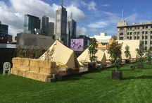 Glamping with St Jerome and Easu Turf / Easy Turf helps create Melbourne's luxurious rooftop camping hotel with St Jerome