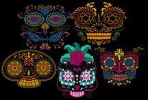 Sugar Skull Mask Embroidery Designs / Machine embroidery designs by CinDes Sugar Skull Mask designs. Colorful and FUN!