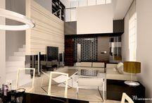 Apartament Pole Mokotowskie / Salon z widokiem na część wypoczynkową oraz stół jadalniany. Nas stołem lampa Nimba, Santa&Cole. www.bartekwlodarczyk.com/