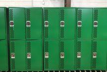 Sehome High School - Bellingham, WA #DeBourgh #Lockers / #AngleIron #StormGray #Juniper #SentryThreeLatch #DiamondPerforation #5KnuckleLatch #Corregidoor #SlopeTop #ClosedBase #LouveredCantilation #PianoHinge #DeBourgh #Lockers