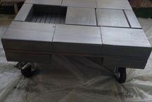Table basse fait avec tasso de recup / Chute de bois // assemblage // peinture roulette = table basse