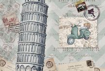 Decoupage,cities,travel,pic,illustration,transfer, french,vintage