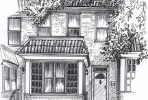 House Portraits by Mary Frances Smith / Hand drawn and painted portraits of houses, businesses and wedding venues / by Fran Smith