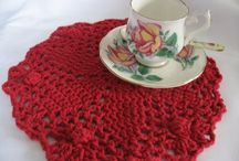 Crochet doilies, dish cloths, rugs, coasters
