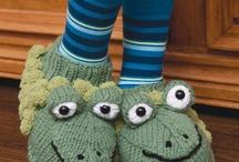 Crochet & Knit Slippers Mittens Leg Wrist Warmers / by Barbara Tappa