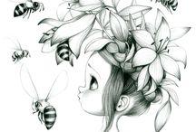 dessin de fille avec fleurs et abeilles