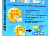Lotus Notes Contacts Converter Software / Lotus Notes Contacts converter Software easily search nsf file and export lotus notes contacts into PST, MSG, RTF, vCard, CSV, HTML, MHTML, TXT, PDF, Doc and Outlook profile. Software is able to export selective single or multiple NSF contacts into PST with splitting option upto 5GB