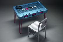 THE GREAT TAPE Convertible Table Collection / There was a time when a friend's mix tape, a sonic love letter from a crush, or a cassette played endlessly in your parent's car could forever change you.  Pause, rewind, and let that happen again with our tables. The 'Great Tape' collection of tables is a line of 1:10 scale copies of compact music cassettes functioning as furniture. With conversion kits available, the purpose of the same cassette is variable between coffee table, dining table and desk.