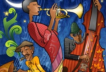 Jazz Night :: Illustration / One of the greatest tradition from New Orleans is jazz. Jazz is always known for its charm and quirkiness, often infused with great freedom in musical style. Those spirits are conveyed in the illustration style, that was created specially for this occasion. The elongated figures and many layered masking of textures create an unmistakable jazz visual. Even the poster formats is unusual. It is 120 x 50 cm.
