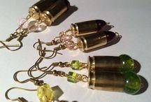 100rings handmade earrings recycled materials / orecchini fatti a mano con il vetro di murano, pallottole, bossoli, resina, materiale di riciclo etc.