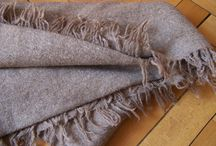 Handwoven light brown undyed sheep wool blankets 135x 220cm