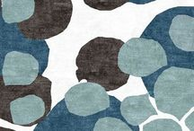 Blue, Yellow, Grey & Black / Colour palette for a modern family living space.