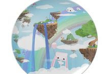 Cute items / Party plate - Crazy Planet - Vibrant happy world full of strange creatures and surprising sights.