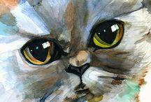 Retrato de gato en acuarela