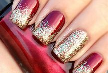 Nails Red and Silver Glitter