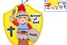 """Bible Lesson: Armor of God / Ephesians 6:10-18 gives us the Armor of God. Kids love the idea of being """"soldiers for the Lord"""" and this board will showcase creative ways to teach the Armor of God so that your children will remember that """"the battle is not theirs, but God's!"""" (2 Chronicles 20:15) (Want to learn more about my ministry, """"The Scripture Lady""""? Then go to www.scripturelady.com)"""