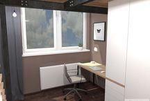 Ložnice s pracovnou a se zvýšeným spaním.