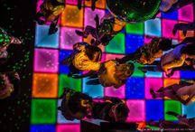 """Verlichte dansvloer / Altijd al John Travolta of Olivia Newton John willen zijn in de tijd van glitter, wijde pijpen en plateauzolen? Herinnert u zich de nostalgische beelden uit films als Saturday Night Fever nog? Een schitterende verlichte dansvloer met lopende patronen in diverse kleuren bezorgen uw gasten dit heerlijke gevoel. Maar ook bij andere – niet disco classics gerelateerde – evenementen is een verlichte dansvloer een regelrechte """"floorfiller""""."""
