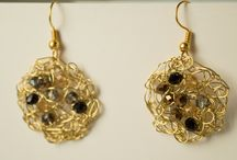 Handmade Wire crocheted Jewelry / My handmade wire crochet Earring featured copper wire, silver plate and gold plated wire.