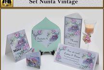 Set Nunta Vintage / marturii, invitatii, plicuri de bani, meniuri, numere de masa pentru nunta in teme asortate