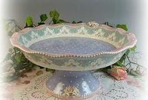USA Handcrafted Ceramic Teaware / Custom Made USA Handcrafted and Hand Decorated Ceramic Tea Cups, Teapots, Tea Sets, Cake Plates and Tea Accessories