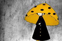 Pluie et parapluie  ≧◠◡◠≦  Rain and umbrella / la pluie