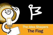 The Idea Shapers: The Flag / In her 2016 book The Idea Shapers, Brandy Agerbeck makes visual thinking attainable and enjoyable through a set of 24 Idea Shapers. The Flag is the second visual thinking concept in the second step, SORT + GROUP.