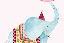 ELEPHANTS / Illustrations, art, ceramics, sculptures, etc of elephants, particularly for children.