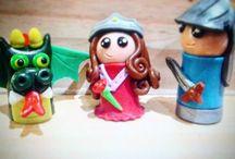 Marionetas de dedo / Marionetas de dedo hechas de arcilla polimérica