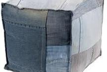 Denim Deco / Wij willen een stoere touch toevoegen aan ons interieur, de combi eiken, spijkerstof en cognackleur leer lijkt ons wel wat! Eerst wat denim inspiratie