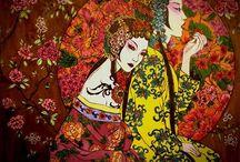 Moon Blossoms Asian Women Katrina Pallon Coloring Book