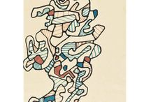 Jean Dubuffet / Jean Dubuffet is considered one of the founding fathers of Art Brut. His art primarily features the resourceful exploitation of unorthodox materials; many of his works are painted in oil paint using an impasto thickened by materials such as sand, tar and straw, giving the work an unusually textured surface. Dubuffet created the illusion of perspective by crudely overlapping objects within the picture plane.