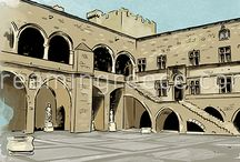 Illustrations of Museums and Archaeological Sites in Greece