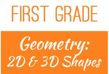 First Grade: Geometry - 2D and 3D Shapes / This board contains resources for Texas TEKS: 1.6A, 1.6B, 1.6C, 1.6D, 1.6E, 1.6F