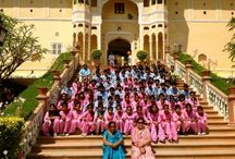 Easter at Samode with children from the Tushita Foundation / The children of the Tushita Foundation were invited by the owner of Samode Hotels, Yadavendra Singh, to visit his fairy-tale palace and have lunch in Samode Bagh, a lush garden and a fabulous retreat for knowledgeable travellers who come to Rajasthan. Photos and blog written by a volunteer at the Tushita Foundation (http://www.tushitafoundationindia.org/)   http://www.kamalan-travels.com/blog/