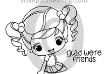 """Abigail - We're Friends Rubber Stamp / Projects and Creations using the """"Abigail"""" rubber stamp line"""