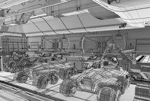 SciFi Hangar 3D Model cermaka