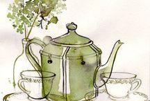 Café, chá, frutos