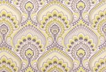 Fabrics / Gorgeous fabrics focusing on a grey / chartreuse / blue color palette