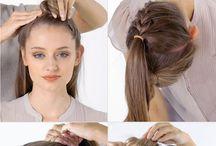 tranças, coques e penteados.