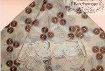 African Lace Collection / Lace is an openwork fabric, patterned with open holes in the work, made by machine or by hand. A true lace is created when a thread is looped, twisted or braided to other threads independently from a backing fabric.  www.thefabricexchange.com