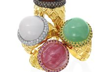 """Ice Cream Ring Collection / The Ice Cream Collection is carefully """"churned"""" and """"scooped"""" in our atelier in New York City. The collection uses a variety of rare gemstones to represent the four most popular ice cream flavors.  Vanilla, Strawberry, Chocolate and Pistachio. All are crafted in Gumuchian's traditional 18K gold."""