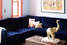 Future Apartment / Future apartment decor ideas: Pastel Blue, Navy Blue, Silver Accents, Dark Wood Furniture