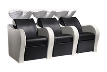 Hair Salon Super Space Saver Shampoo Station / These Salon Ambience Sofa Backwash Shampoo Units not only save space by having two or three connected but they also have massage and electric footrest options