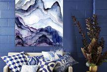 Aquarelle montagne bleue