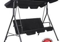 Garden Patio Metal Swing Chairs Seat 2-3 Seater Hammock Bench Swinging Cushioned