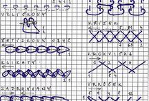 Embroidery stitches - vyšívací stehy / Vyšívací stehy, které se používají při výrobě krojů na jihovýchodní Moravě.