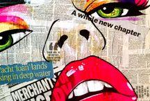 newspaper collage art graffiti