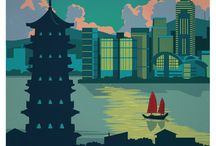 Hong Kong / Hong Kong posters, postcards, illustrations and photos.