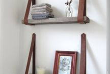 DIY shelf with leather straps